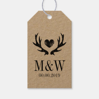 Kraft rustic deer antler wedding favor gift tags