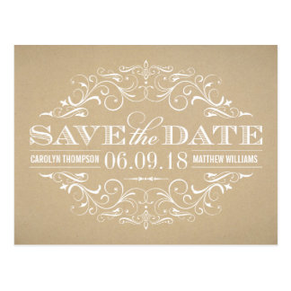 Kraft Save the Dates | Swirl and Flourish Postcard