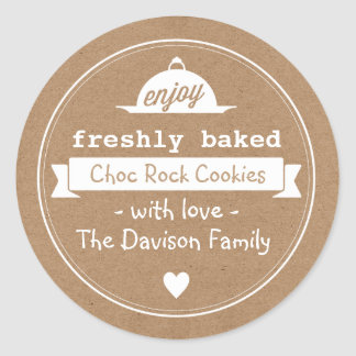 Kraft Vintage Baking Labels Round Sticker