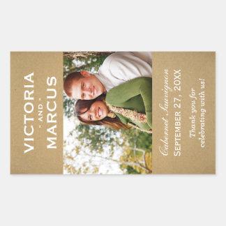 Kraft Wedding Photo Wine Bottle Favour Rectangular Sticker