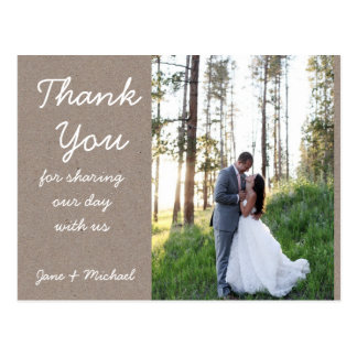 Kraft Wedding Thank You Post Card