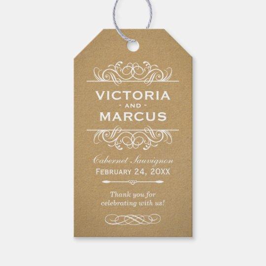 Kraft Wedding Wine Bottle Monogram Favour Tags