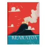 Krakatoa Vintage Vacation Poster Art Post Card