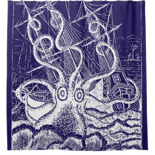 Kraken Attack Navy Blue Shower Curtain