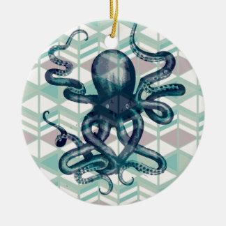kraken Aztec vintage Round Ceramic Decoration