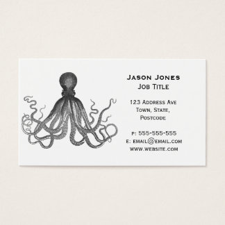 Kraken - Black Giant Octopus / Cthulu Business Card