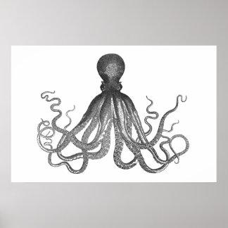 Kraken - Black Giant Octopus / Cthulu Poster