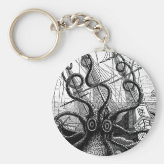 Kraken Eatting a Sailing Ship Basic Round Button Key Ring
