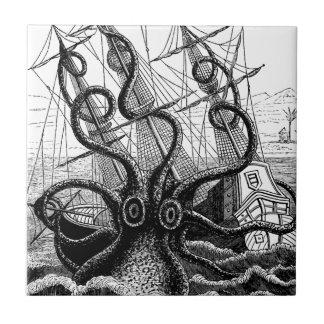 Kraken Eatting a Sailing Ship Small Square Tile
