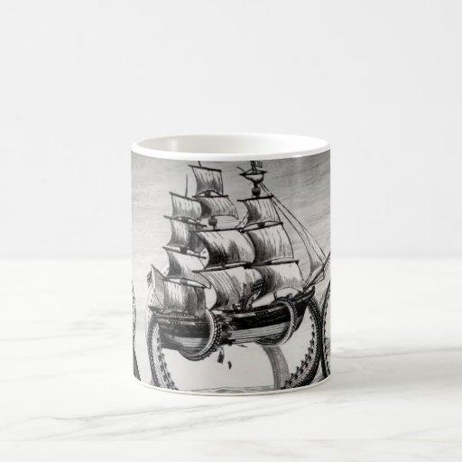 Kraken Holding Pirate/Sailing Ship White Mug