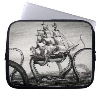Kraken Holding Up A Pirate Sailing Ship 10 Sleeve Computer Sleeve