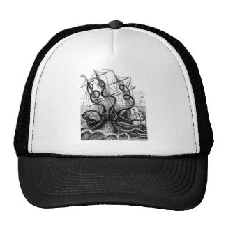 Kraken/Octopus Eatting A Pirate Ship, Black/White Cap