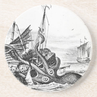 Kraken/Octopus Eatting A Pirate Ship, Black/White Coaster