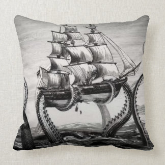 Kraken/Octopus Eatting A Pirate Ship, Black/White Cushion