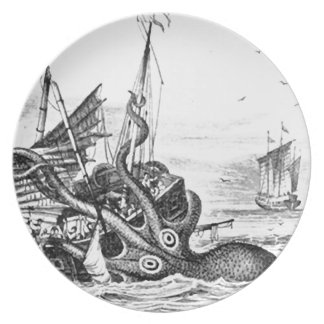 Kraken/Octopus Eatting A Pirate Ship, Black/White Plate