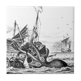Kraken/Octopus Eatting A Pirate Ship, Black/White Small Square Tile