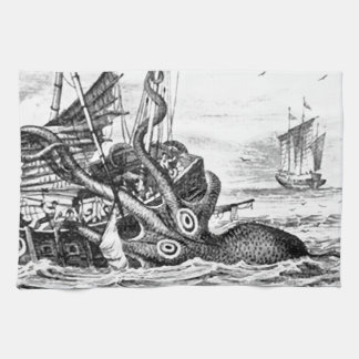 Kraken/Octopus Eatting A Pirate Ship, Black/White Tea Towel