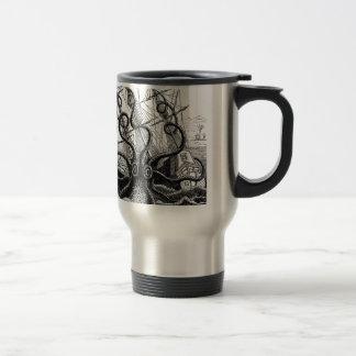 Kraken/Octopus Eatting A Pirate Ship, Black/White Travel Mug