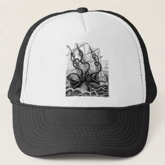 Kraken/Octopus Eatting A Pirate Ship, Black/White Trucker Hat