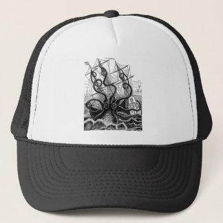 Kraken/Octopus Eatting A Pirate Ship, Black/White Trucker Hat