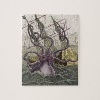 Kraken/Octopus Eatting A Pirate Ship, Color Jigsaw Puzzle