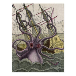Kraken/Octopus Eatting A Pirate Ship, Color Postcard