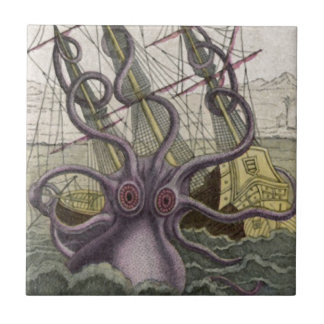Kraken/Octopus Eatting A Pirate Ship, Color Tile