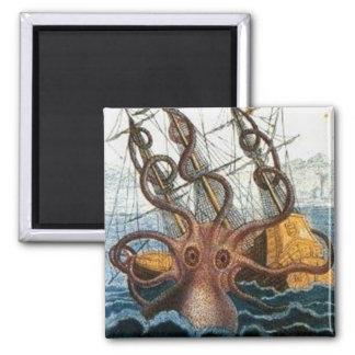 Kraken Steampunk Octopus Vintage Magnet