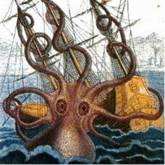 Kraken Steampunk Octopus Vintage Photo Sculpture Badge