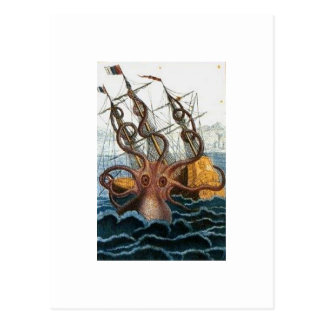 Kraken Steampunk Octopus Vintage Post Card