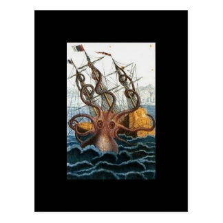 Kraken Steampunk Octopus Vintage Postcards