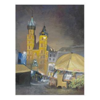 Krakow at night postcard