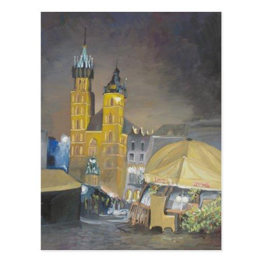 Krakow at night postcards