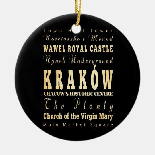 Kraków City of Poland Typography Art Christmas Ornament
