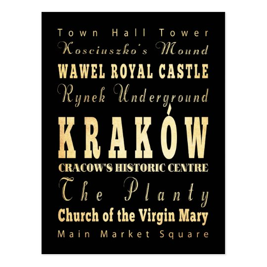 Kraków City of Poland Typography Art Postcard