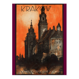 Krakow Poland - Vintage Polish Travel Poster Postcard