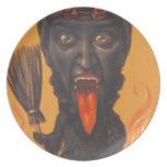 Krampus Broom Hell Fire Party Plate