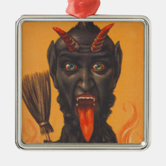 Krampus Broom Hell Fire Silver-Colored Square Decoration