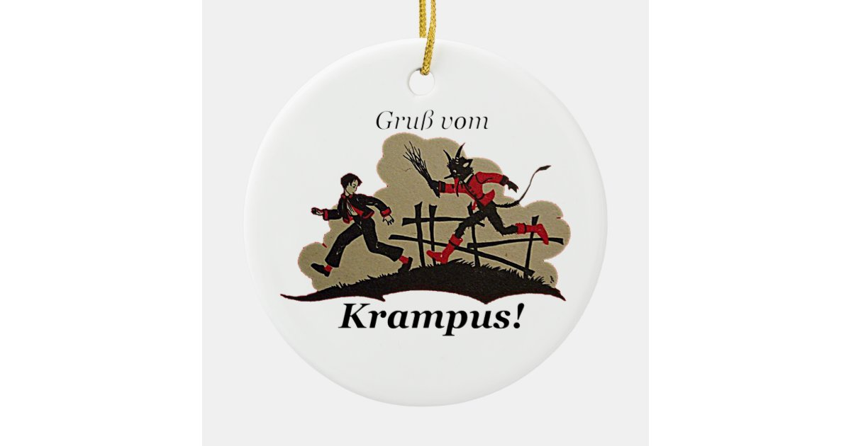Krampus Chases Kid Christmas Ornament | Zazzle.co.uk