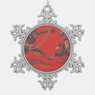 Krampus Chasing Boy Pewter Snowflake Decoration