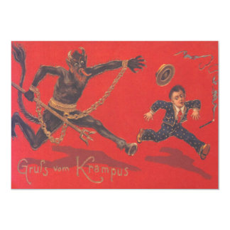 Krampus Chasing Child 13 Cm X 18 Cm Invitation Card