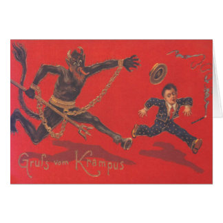 Krampus Chasing Child Card