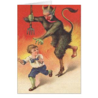 Krampus Chasing Child Card