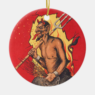 Krampus Demon Devil Pitchfork Switch Double-Sided Ceramic Round Christmas Ornament