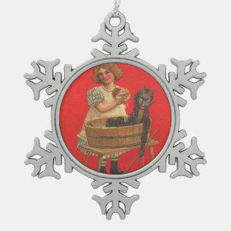 Krampus Doll & Girl Pewter Snowflake Decoration