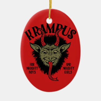 Krampus Face Naughty Ceramic Oval Decoration