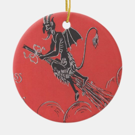 Krampus Flying On Broom Christmas Ornament
