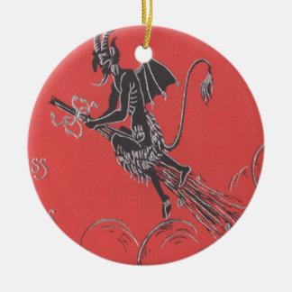 Krampus Flying On Broom Round Ceramic Decoration