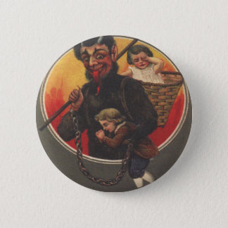 Krampus Kidnapping Boy & Girl 6 Cm Round Badge