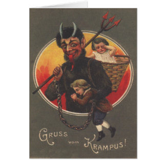 Krampus Kidnapping Boy & Girl Card